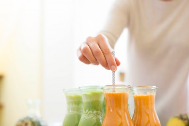 Each juice is freshly prepared with fruit and vegetables from an organic farm in Inverness