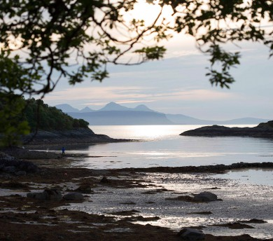 Catching the sunset from Glenuig Beach, with Eigg and Rhum in the distance