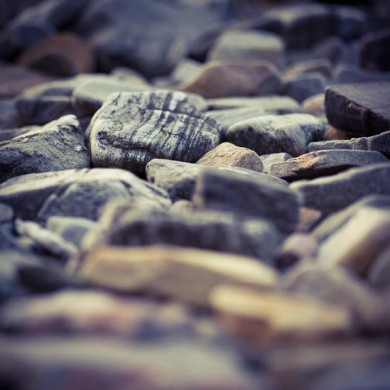 Stones on the beach in front of Arisaig House