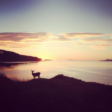 A breathtaking sunset with one of the locals, looking out towards Eigg